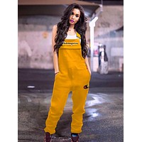 Champion Summer Fashionable Women Casual Overalls Jumpsuit Rose Yellow