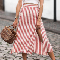Summer new skirt in the long women's red striped belt split skirt long skirt double side pockets