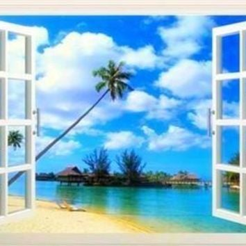 5D Diamond Painting Palm and Huts Window View Kit