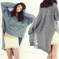 Women Sweater Short Sleeve Hollow Out Jumper Pullover Tunic Top Knit Crochet F_B (Color: Gray) = 1958395332