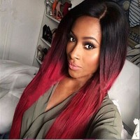 Ombre Black to Burg Synthetic Wigs Heat Resistant Hair 28 inch Long Straight