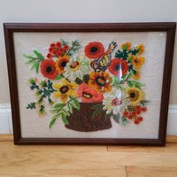 Vintage Framed Flower Bird Embroidery Needlepoint Crewel