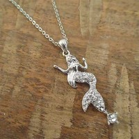 Silver Rhinestone Mermaid Necklace   Candy's Cottage