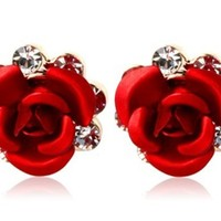 Tanboo Rigant 18K RGP Crystal Accented Rose Stud Earrings (Red)