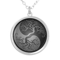 Dark Yin Yang Tree Pendants from Zazzle.com