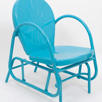 Turquoise Blue Outdoor Patio Glider Chair - Long Lasting Enamel Paint And Powder Coated Finish