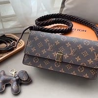 LV classic old flower with puppy pendant shoulder bag crossbody bag