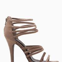 Taupe Faux Suede Multi Strap Heels @ Cicihot Heel Shoes online store sales:Stiletto Heel Shoes,High Heel Pumps,Womens High Heel Shoes,Prom Shoes,Summer Shoes,Spring Shoes,Spool Heel,Womens Dress Shoes
