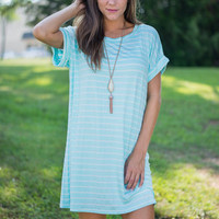 My Stripe Of Love Dress, Aqua