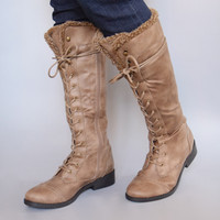 Aspen Lace Up Boots Taupe