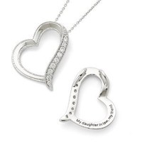Sterling Silver Antiqued CZ Daughter-In-Law 18in Necklace