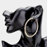 Cogwheel Textured Bold Metal Hoop Earrings