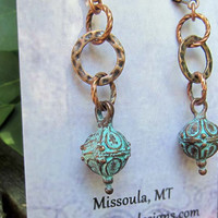 Copper circle dangle earrings with patina drops Rustic jewelry