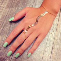 Rori Chevron Hand Jewelry - Gold - One