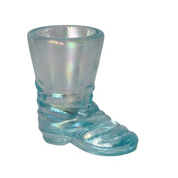 Vintage Imperial Glass Azure Blue Boot Toothpick Holder Iced Blue