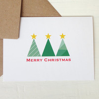 Christmas greeting card xmas card modern christmas trees merry christmas green red