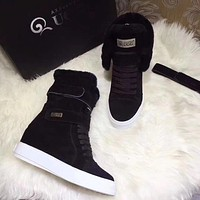Ugg Trending Women's Black Leather Side Zip Lace-up Ankle Boots Shoes High Boots
