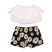 Baby Clothing Infant Baby Girls Off Shoulder Tops Sunflower Pants Shorts Outfits Clothes