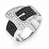 Sterling Silver Cubic Zirconia Buckle Ring