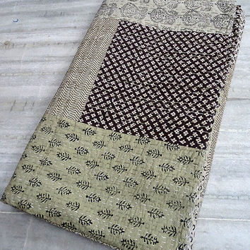 Block print patchwork Kantha Quilt, Indian Patchwork Handmade Kantha Bedding Bedspread Cotton Blanket, Reversible Gudri Ralli Vintage Decor