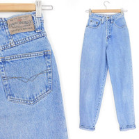 """Sz 00 90s High Waisted Mom Jeans - Vintage Women's Union Bay Tapered Leg Mom Jeans - 23"""" Waist"""