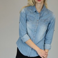 Jenny Light Wash Chambray Button Down Blouse