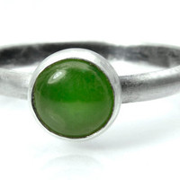 Jade and Silver Stacking Ring