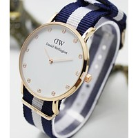 DW Daniel Wellington Fashion Women Men Simple Watch Dial Diamond Knit Watchband Watch Wrist(9-Color) I-YF-GZYFBY