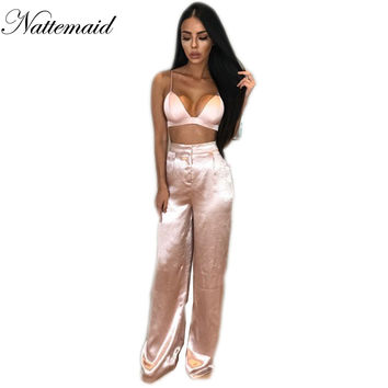 2017 Summer women sets 2 pieces long pants suit v neck camis tank tops Pink trousers Sexy holiday beach wear Marsala color