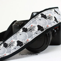 Tree of Life dSLR Camera Strap, Blackbird, Red Bird, Grey, Gray, Black, White