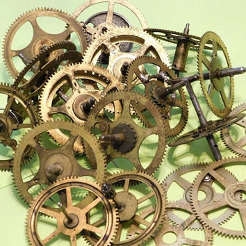 Antique Clock Gears Wheels Cogs  /  Altered Art  /  Steampunk Supplies  /  Parts / 1900s Victorian Clock Parts /  Lot  / Craft DIY Projects