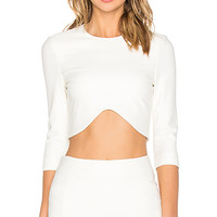 3/4 Sleeve Crop Top in White