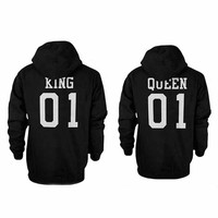 Be Your King Or Queen Couple Matching Letter Printed Hooded Sweatshirt