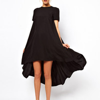 Short Sleeve Dovetail Ruffled Midi Dress