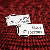 Play Together and Stay Together Keychain Set - Nintendo - Gamer Couples - Video Games - Aluminum Key Chains