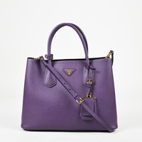 "Prada ""Viola"" Purple ""Saffiano Cuir"" Leather ""Double"" Satchel Bag"