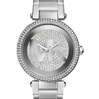 Michael Kors Ladies Parker Stainless Steel and Crystal Watch
