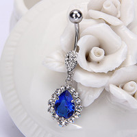 Diamonds Dangle Belly  Ring/Four colors/Natural Crystal Belly Ring- Silver Charm Dangle Navel Piercing belly ring