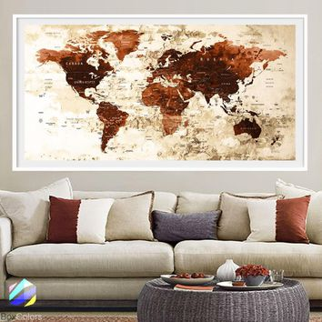 XL Poster Push Pin World Map travel Art Print Photo Paper watercolor Brown Old Wall Decor (frame is not included) (P22) FREE Shipping USA!!!