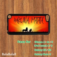 Hakuna Matata - iPod  touch 4 case , iPod  touch 5 case , iPhone  4 case, iphone 5 Case,  in durable plastic or rubber silicone case