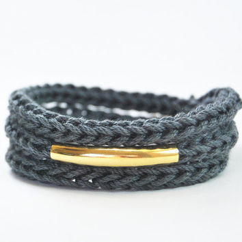 Charcoal gray wrap bracelet or necklace with gold bar