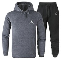 JORDAN Fashion Men Women Warm Hooded Top Sweater Pants Set Two-Piece Sportswear Dark Grey