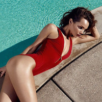 Red Zipper One Piece Swimsuit Bikini 13180