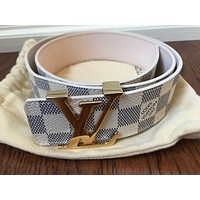 LOUIS VUITTON - LV Initiales Belt (40mm), DAMIER Azur - size 34/ 85 cm