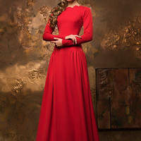 Red evening dress, long evening dress 2016, special occasion formal dress, handmade fashion dress, elegant dress, prom dress long sleeves