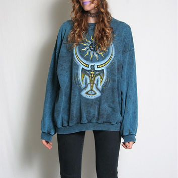 90s Stonewash Tribal Crewneck Sweatshirt - Crew Neck - Sun Moon Crow - Hippie Hippy - 90s Grunge - Turquoise Stone Wash - 90s Sweater