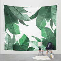 Tropical Palm Print Wall Tapestry by Tamsin Lucie