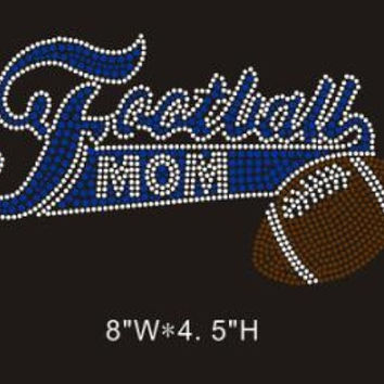 Football mom red rhinestone iron on hotfix transfer - DIY hot fix shirts t-shirts tees custom bling