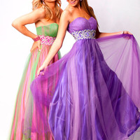 Purple Strapless Beaded Two Tone Tulle Ball Gown - Unique Vintage - Prom dresses, retro dresses, retro swimsuits.