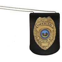 Leather ID & Badge Holder with Chain 2561 (C)